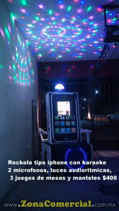 ROCKOLA TIPO IPHONE CON KARAOKE LUCES PANTALLA TOUCH