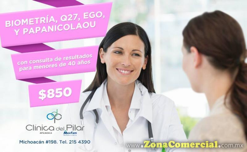Paquete Biometría, Q27, EGO, Papanicolaou $850 en Clínica del Pilar
