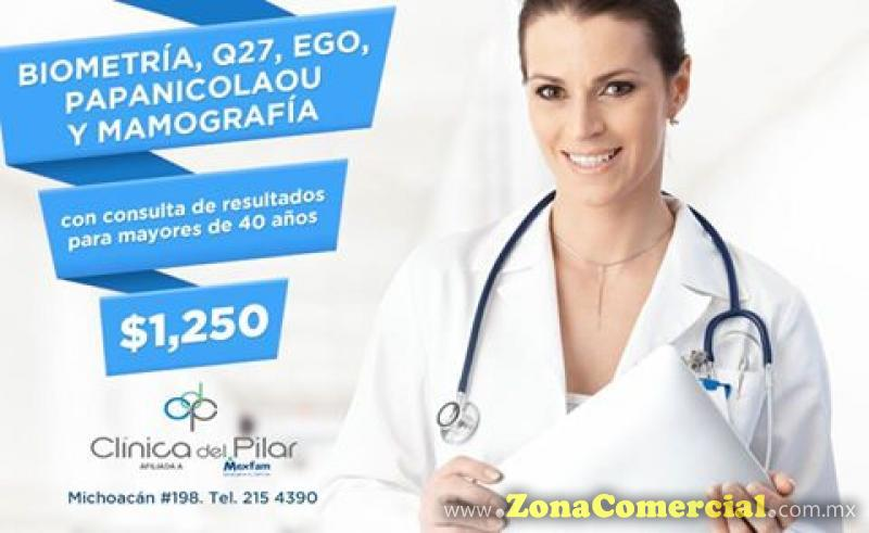 Biometría, Q27, EGO, Papanicolaou, Mamografía $1250 en Clínica del Pilar