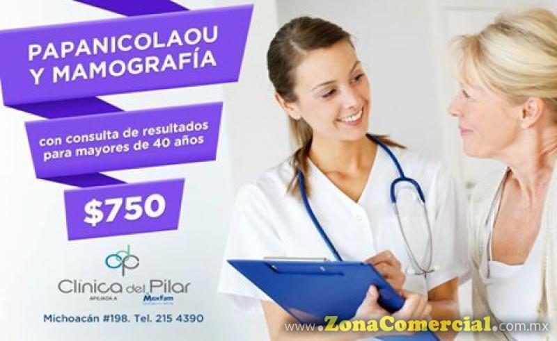 Papanicolaou y Mamografía $750 en Clínica del Pilar