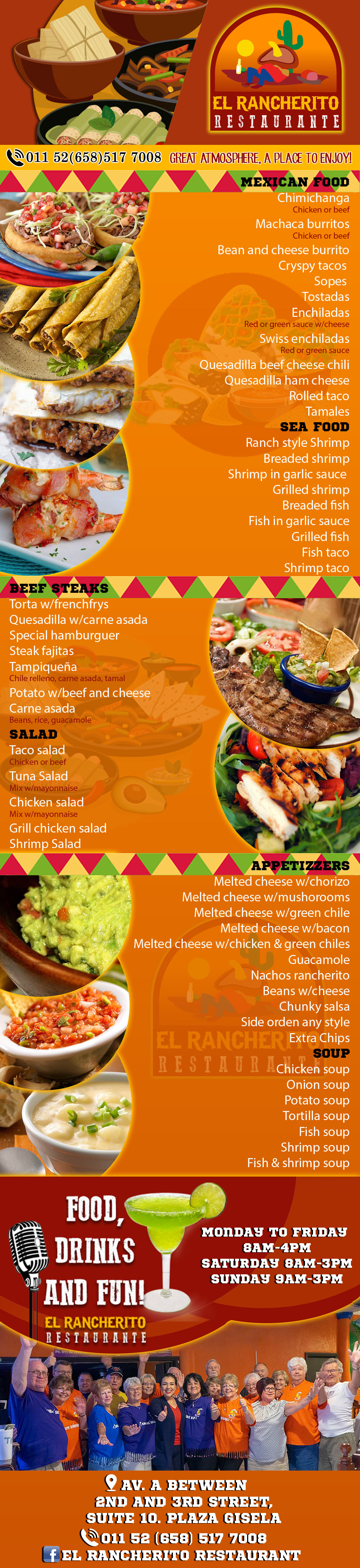 El Rancherito Restaurant in Algodones  in Algodones  Mexican Food.             comida restaurant foot tacos burros comida steak melted sheese chorizo folded taco enchilada margaritas beer drinks chimichanga machaca restaurante algodones mexican food beet steaks sea food soup drinks