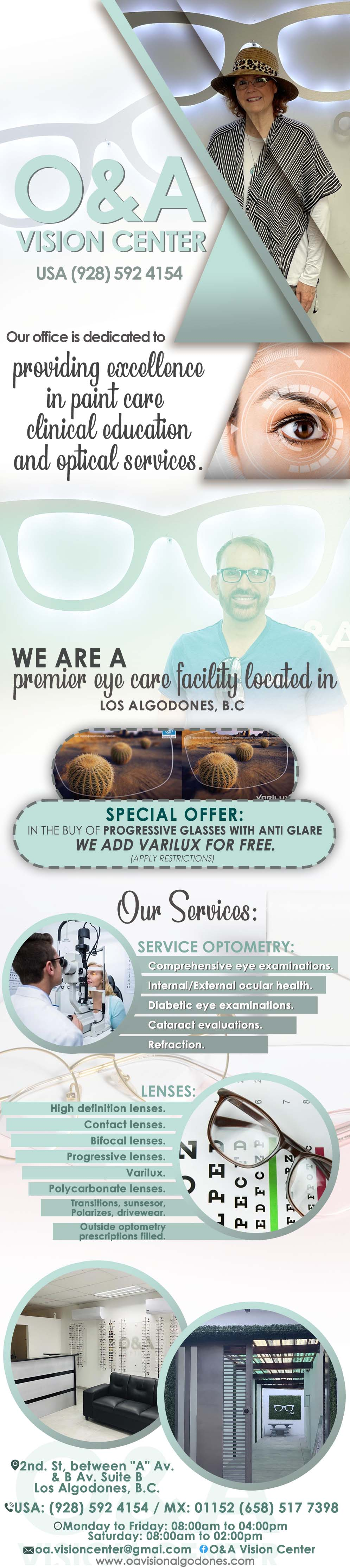 O&A Vision Center in Algodones  in Algodones  Certificated Optometrist                               optical vision eyes lens  Dental bifocal oa oya o&a vision     eye exam varilux progressive eyetest bifocal transition optometrist optometryst antiglare single visión special professional profesional lenses