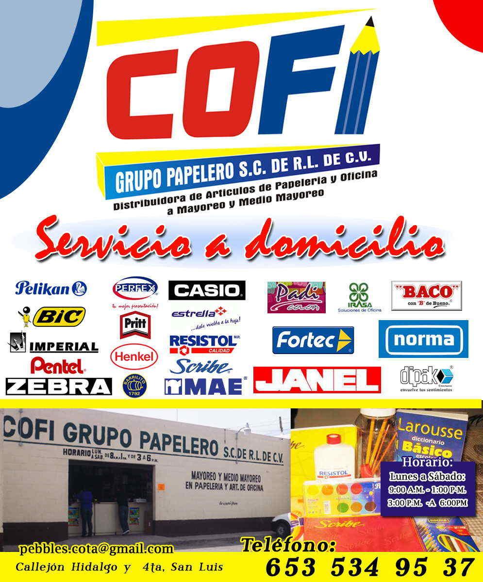 Cofi grupo papelero en san luis rio colorado anunciado por for Articulos de oficina y papeleria