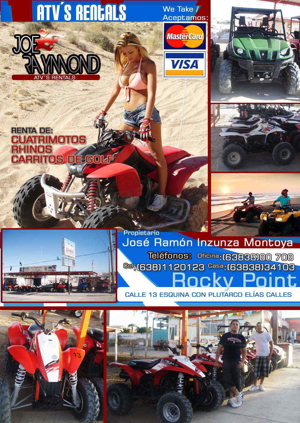 Joe Raymond ATV´S-RENTA DE CUATRIMOTOS RHINOS CARRITOS DE GOLF