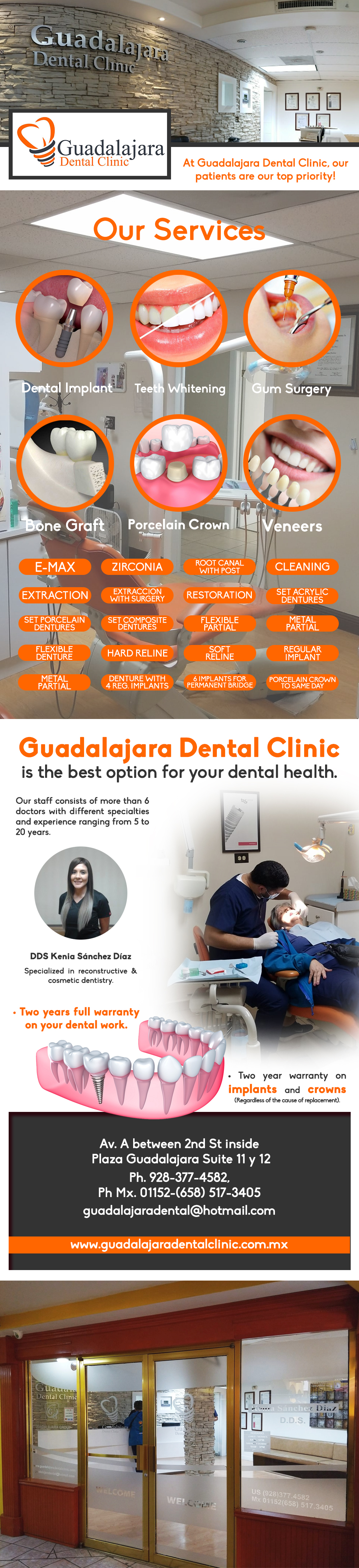 Guadalajara Dental Clinic DDS Kenia Sánchez in Algodones  in Algodones  Guadalajara Dental Clinic in Algodones, B.C. SERVICES