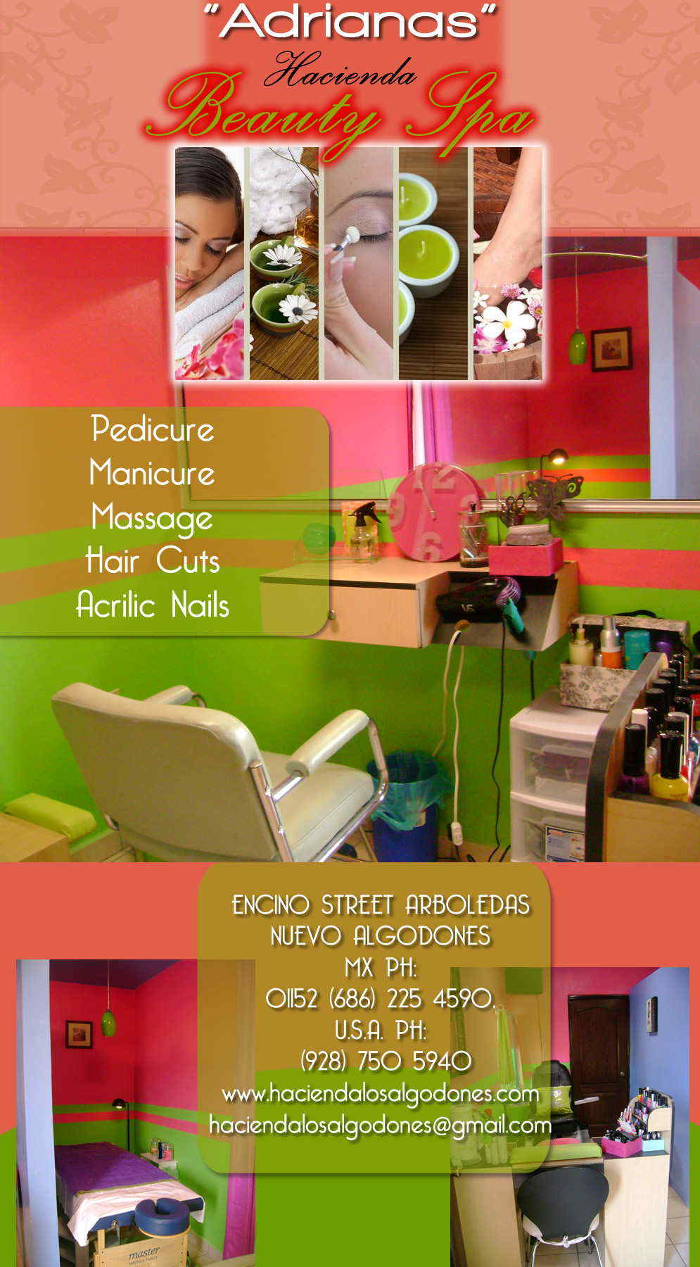 ADRIANAS HACIENDA BEAUTY SPA in Algodones  in Algodones  BEAUTY SPA PEDICURE MANICURE MASSAGES HAIR CUTS ACRILIC NAILS