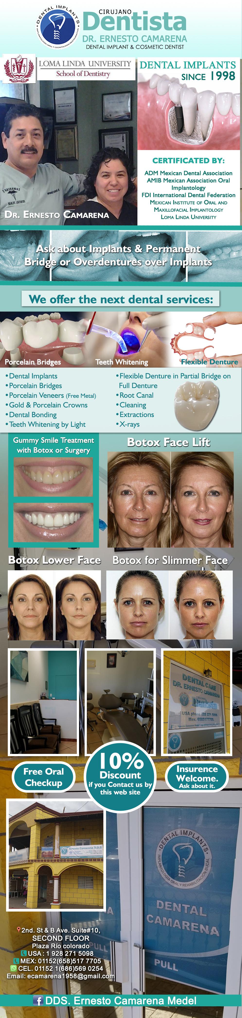 CIRUJANO DENTISTA DR. ERNESTO CAMARENA  in Algodones  in Algodones  CIRUJANO DENTISTA DR. ERNESTO CAMARENA              dentist dental dentista dds consultorio clinic
