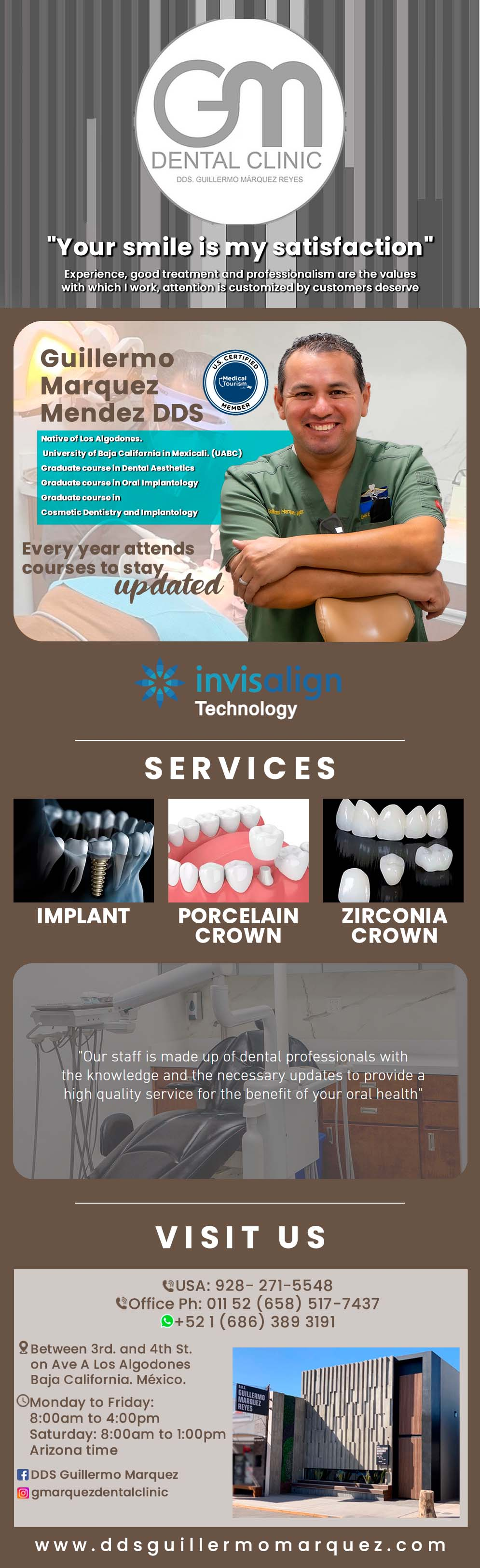 Dentist DDS Dr. Guillermo Marquez Reyes in Algodones  in Algodones  DENTIST D.D.S. DR. GUILLERMO MARQUEZ REYES                     dentist dentista dds doctor dr consultorio clinic clinica implants dental orthodontics metal crowns white filling set of acrylic dentures set of porcelain dentures  flexible partial acrylic partial metal partial laser whitening root canal post cleaning deep cleaning bleaching extraction mini implants porcelain crown gold crown veneers  widsom toogh extraction digital