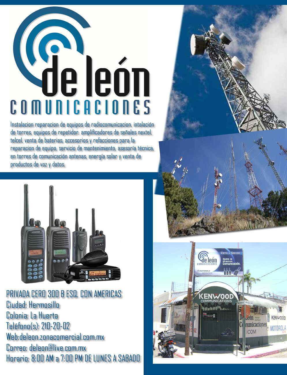 De leon comunicaciones en hermosillo anunciado por for Refaccionarias en hermosillo