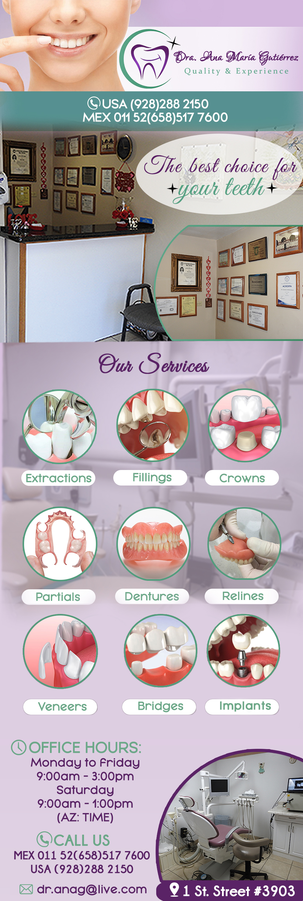 DRA. ANA MARIA GUTIERREZ in Algodones  in Algodones  DENTIST. Extraction, Fillings, Porcelain Crowns, Ceramic Crowns, Partials, Dentures, Relines, Venners, Bridges.             DENTIST DENTISTRY GENERAL IMPLANTS  DOCTORA DENTISTA GENERAL EXTRACTION FILLINGS CROWNS PORCELAIN PARTIALS DENTURES RELINES VENNERS BRIDGES