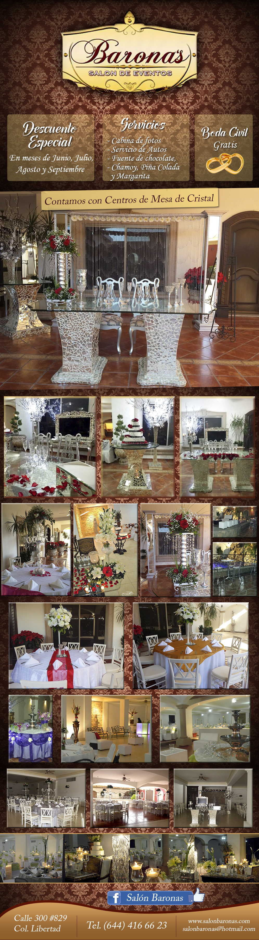 Baronas Salon de eventos-- Bautizos - Bodas - XV A�os - Baby Shower - Despedidas - Local de Eventos