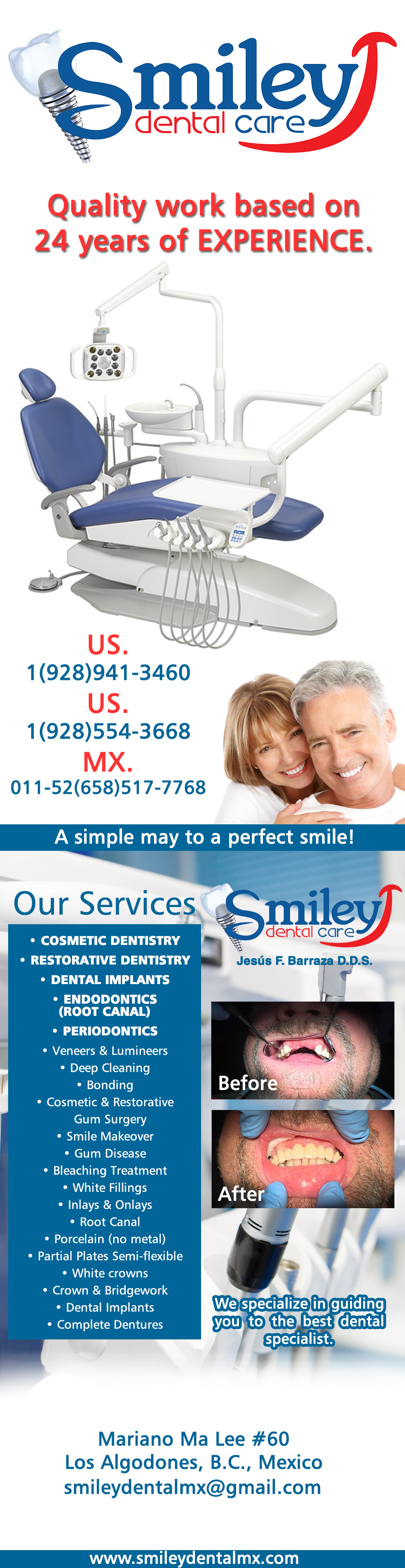 Smiley Dental Care   Jesús Barraza DDS in Algodones  in Algodones  Services: 