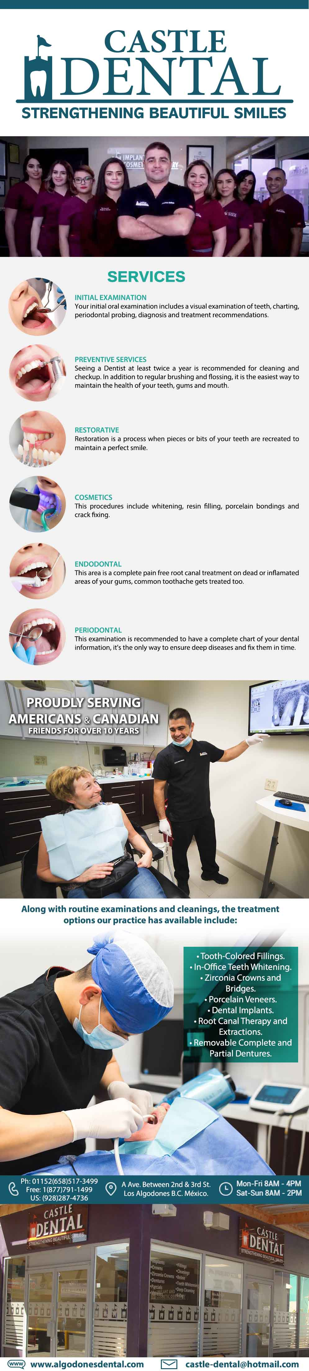 CASTLE DENTAL DDS Arturo Beltran in Algodones  in Algodones  CASTLE DENTAL Dr. Arturo Beltran DDS.  Proudly Serving AMERICAN & CANADIAN friends for over 10 years. STRENGTHENING BEAUTIFUL SMILES!! dentistas dentist dentista medico medicina dental care dental clinic dr doctores dental implants tooth colored filling zirconia crown bridges porcelain veneers root canal therapy  and extractions removable complete and partial dentures periodontics endodontics cosmetic
