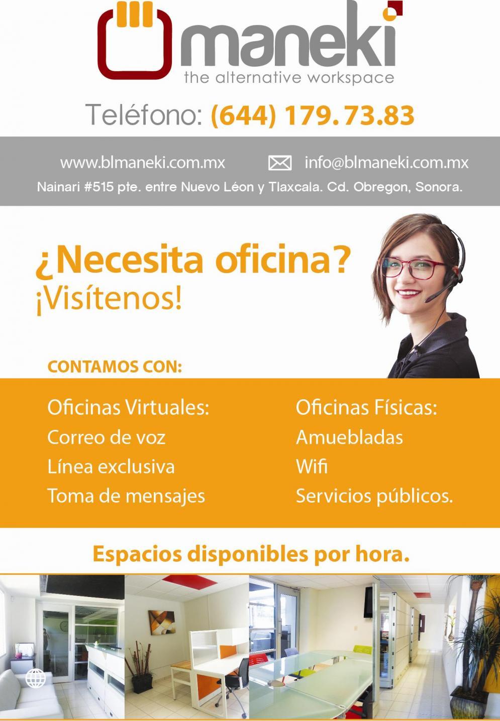 Maneki oficinas virtuales y fisicas en ciudad obreg n for Alquiler de oficinas por horas