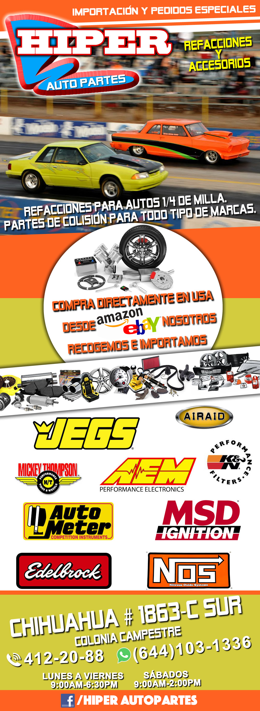 Hiper Auto Partes-Todo para su automóvil, Refacciones y Accesorios, Importación y Pedidos Especiales, Partes de Colisión Todo Tipo de Marcas, Refacciones para autos 1/4 milla !!!!