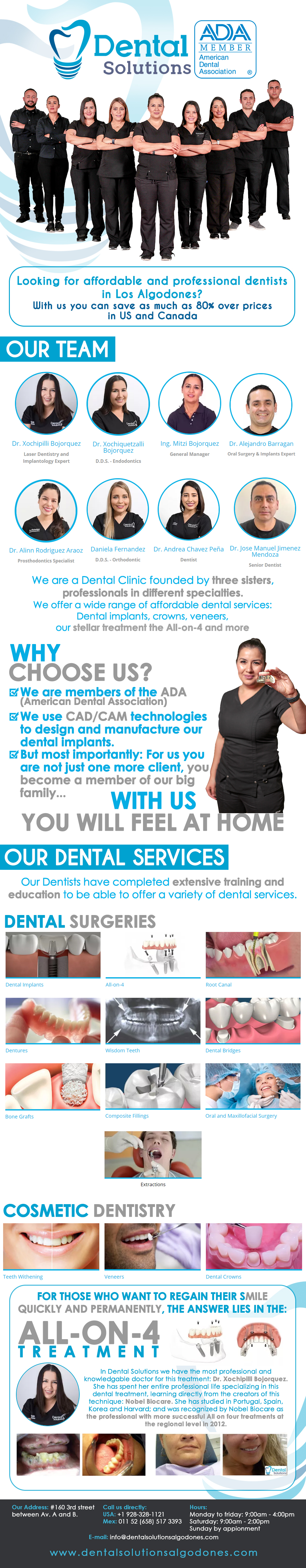 Dental Solutions Xochipilli Bojorquez DDS in Algodones  in Algodones  In Dental Solutions, we offer you the best treatments you need to regain your smile.