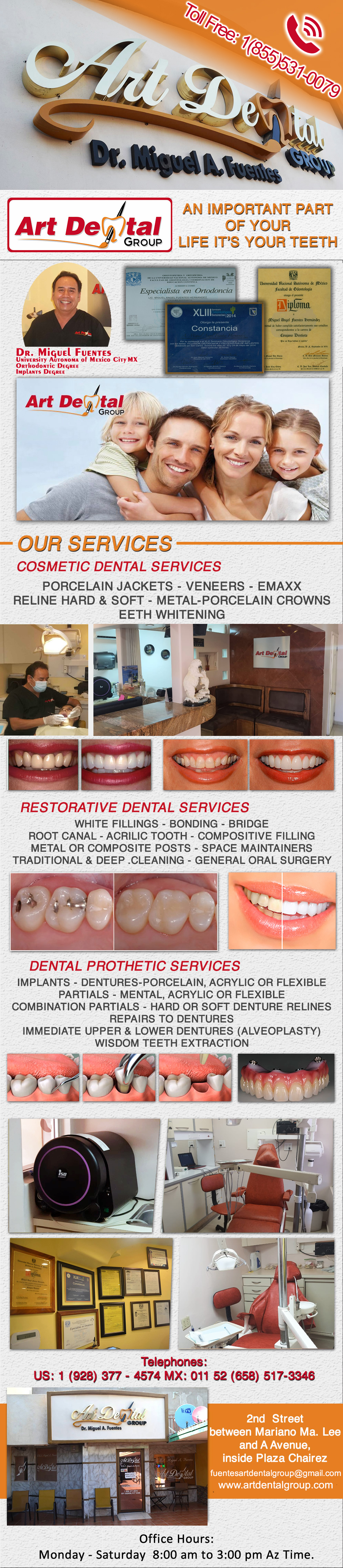 Art Dental Group Dr. Miguel A. Fuentes D.D.S. in Algodones  in Algodones  DENTAL PROSTHETIC SERVICES: