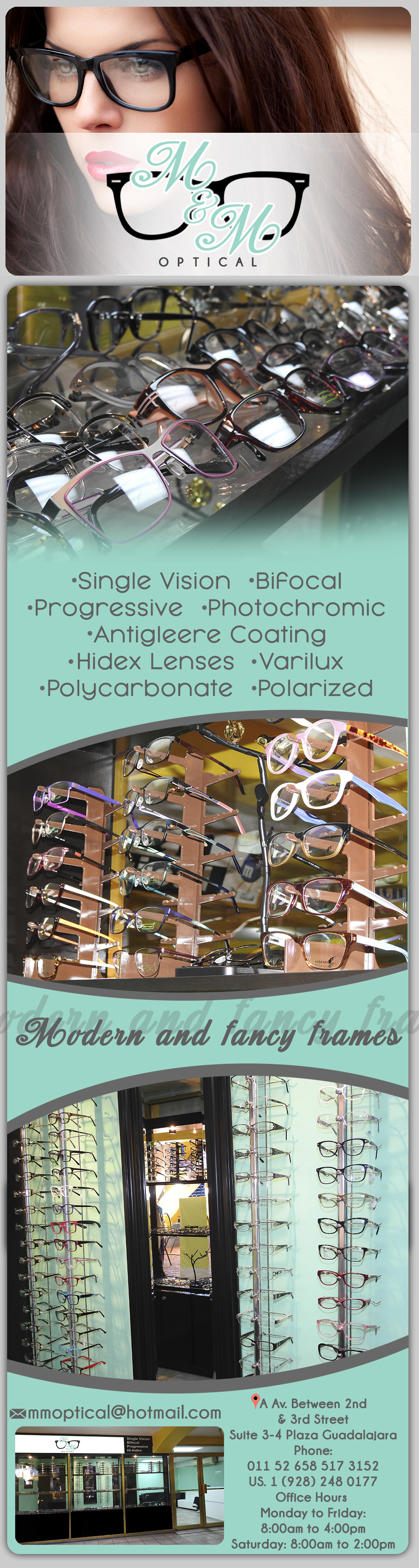 M & M Optical in Algodones  in Algodones  Single Vision, Bifocal, Progressive, Photochromic, Antigleere coating, Hi-index Lenses, Varilux, Polycarbonate, Polarized. MODERN AND FANCY FRAMES.         Single Vision Bifocal Progressive Photochromic Antigleere coating Hi-index Lenses Varilux Polycarbonate Polarized optical services lenses  MODERN AND FANCY FRAMES        óptica lentes