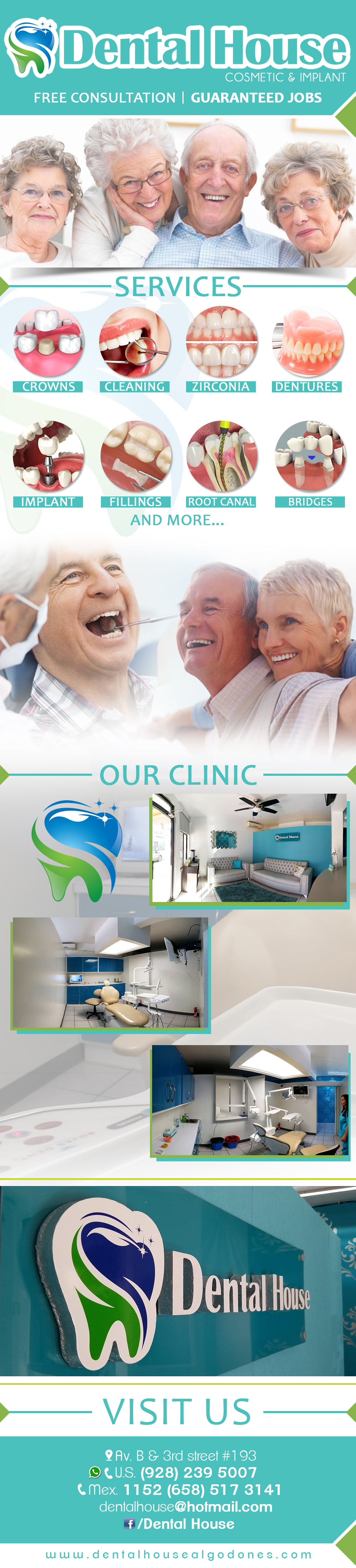 Dental House Cosmetic & Implant in Algodones  in Algodones  Our services: Crowns, Cleaning, Zirconia, Dentures, Implant, Fillings, Root Canal, Bridges and more...     Crowns  Cleaning Zirconia Dentures Implant, Fillings Root Canal Bridges Dental House