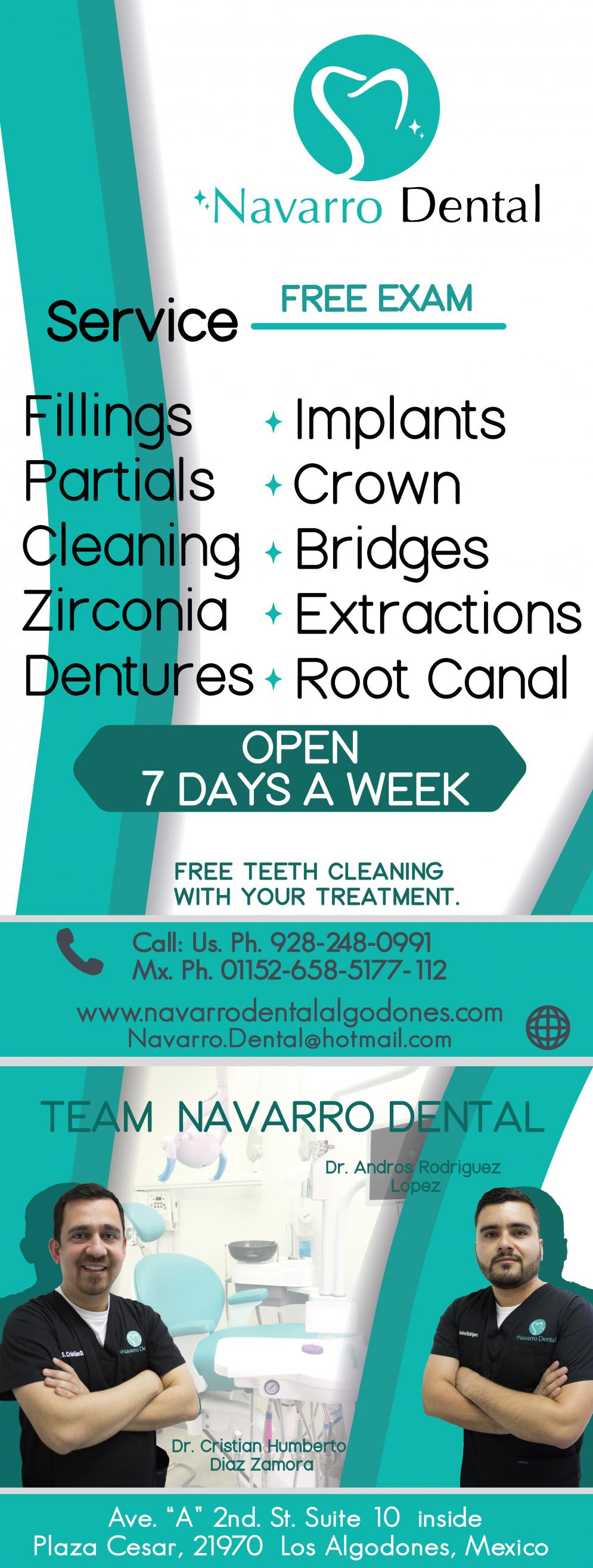 Navarro Dental in Algodones  in Algodones  Implants, Crown, Bridges, Extractions. Implants Crown Bridges Extractions dentist