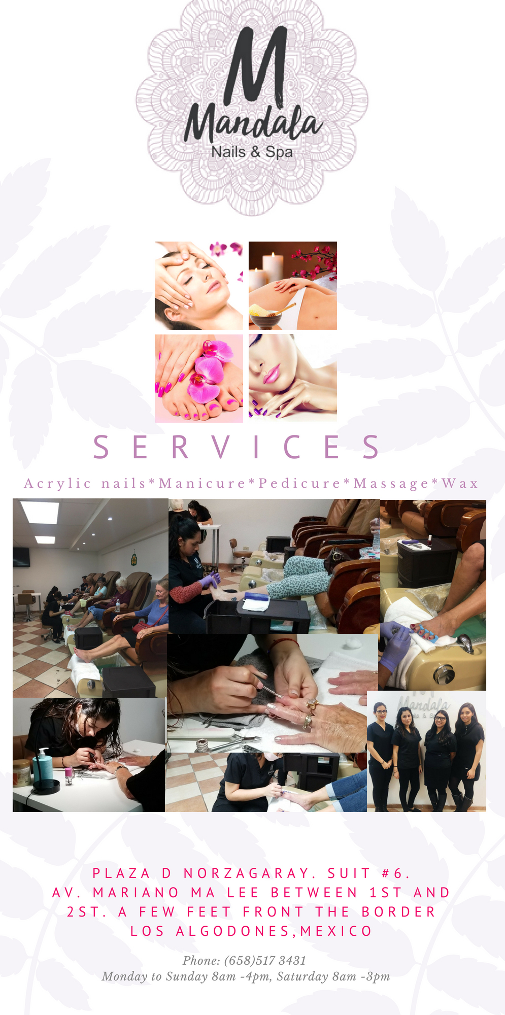 Mandala Nails & Spa in Algodones  in Algodones  Pedicure, Manicure, Nails, Massage, Wax.  mandala nails spa pedicure manicure nails massage wax mandala nails&spa