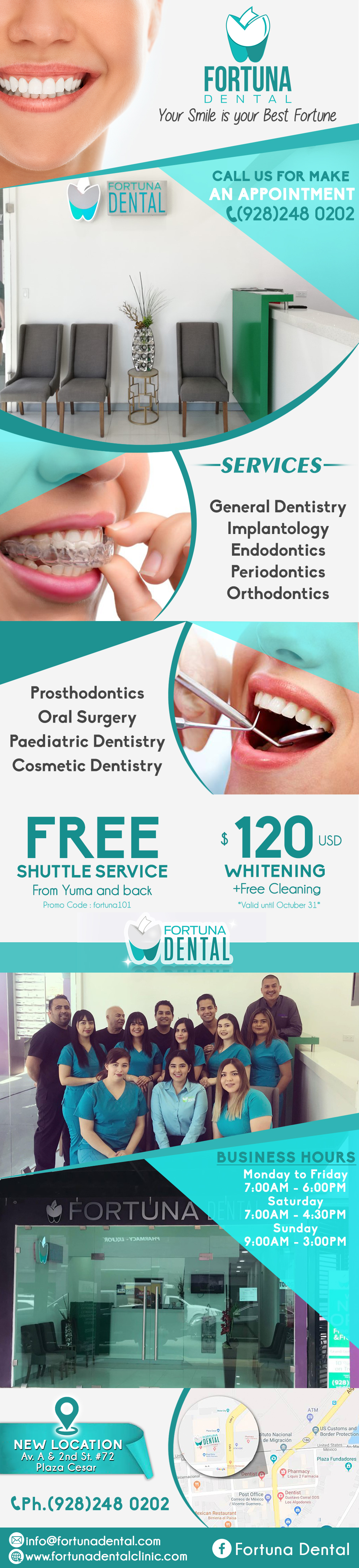 FORTUNA DENTAL in Algodones  in Algodones  Fortuna Dental, We count with general dentist that specialize on: Pediatric Dentistry, Implantology, Maxillary Surgery, Othodontics, Periodontics, Endodontics.     Fortuna Dental, We count with general dentist that specialize on: Pediatric Dentistry, Implantology, Maxillary Surgery, Othodontics, Periodontics, Endodontics.