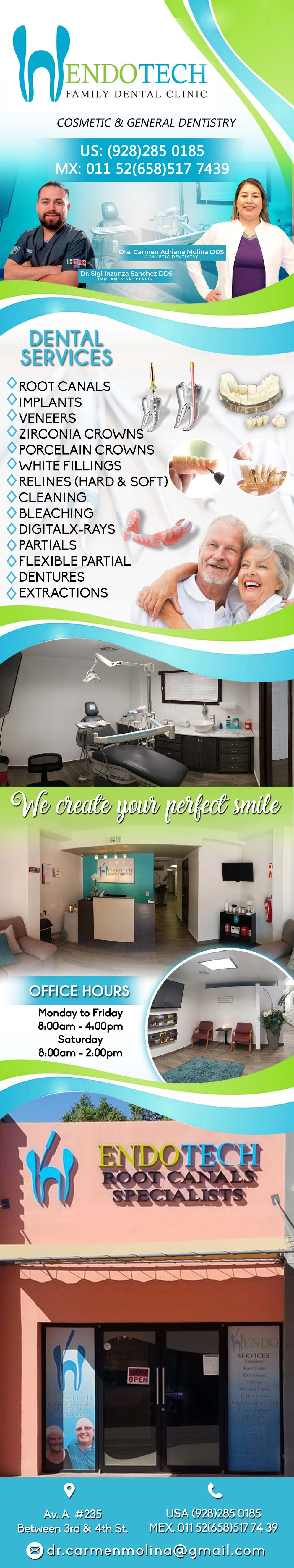 ENDOTECH  Adriana Molina DDS in Algodones  in Algodones  Root Canals Specialists, Cosmetic and General Dentistry. Dra. Carmen Adriana Molina DDS. dentist dentista dentistry root canals specialists cosmetic and general dentistry doctora dental cirujano dentista  clinic endotech endo tech