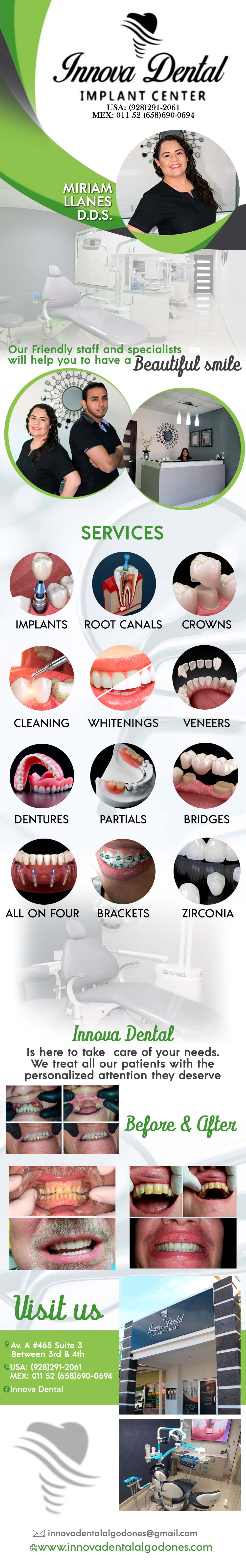 INNOVA DENTAL- Miryam Yanez D.D.S. in Algodones  in Algodones  Innova Dental, Implants, Root Canals,  Crowns,