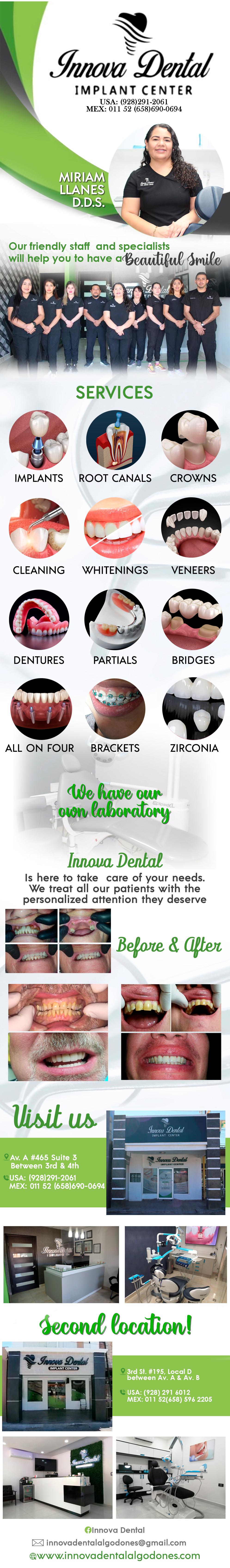 INNOVA DENTAL- Miryam Yanez D.D.S. in Algodones  in Algodones  Innova Dental, Implants, Root Canals,  Crowns, Cleanings,  Whitenings,   Veneers, Dentures,   Partials,   Bridges              Innova Dental, Implants, Root Canals,  Crowns, Cleanings,  Whitenings,   Veneers, Dentures,   Partials,   Bridges