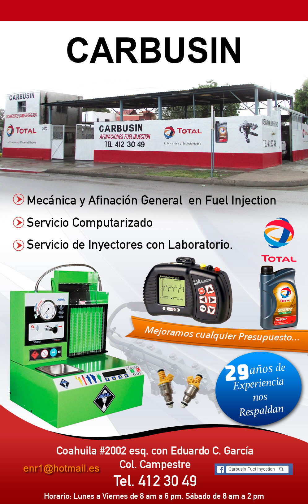 Carbusin Fuel Injection-Servicio Completo Fuel Injection 29 años de Experiencia Gracias a su Preferencia!