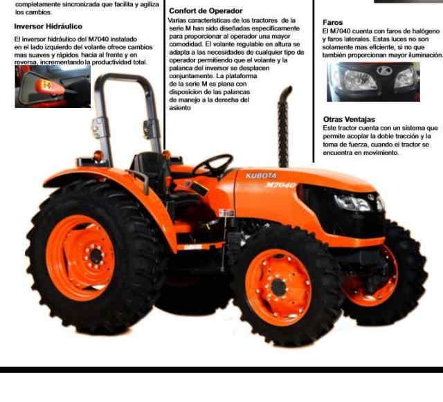 TRACTOR DIESEL KUBOTA M7040DTH-MEX Presentando el nuevo tractor Kubota M7040DTH-MEX, con la misma calidad que usted ya conoce, pero ahora con mayor poder y mejoras tecnológicas.