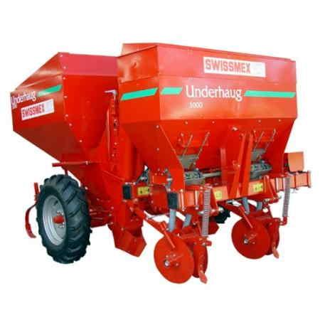"""Sembradora para Papas capacidad de 586 L No° de surcos: 2 Equipados con llantas tipo tractor (7.5-16"""") Distancia entre surcos 90 cm Capacidad de la tolva 1,000 Kg Ancho de la maquina 2 m Peso 580 Kg."""