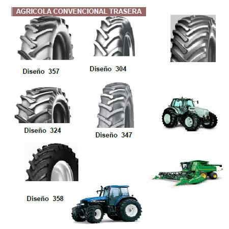 Llanta Agrícola Convensional Trasera Varias Medidas y Marcas llantas tractor y agricolas traseras:13.6R24, 14.9R26, 18.4R38, 380/70R24, 380/85R24(14.9R24), 460/85R34(18.4R34), 460/85R38(18.4R38), 24.5R32 (650/75R32), 30.5LR32 (800/65R32)